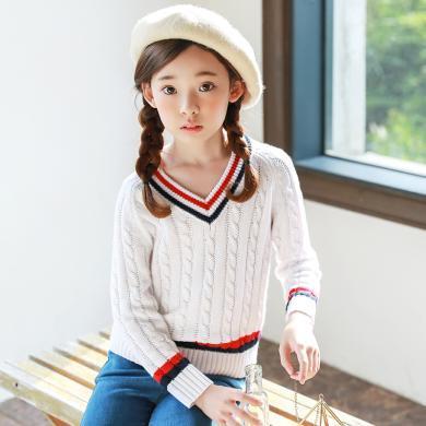 ocsco 秋冬裝季新款女童裝毛衣學院風V領小女孩中大童針織衫女童裝