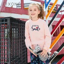 Fixoni春装儿童女童卫衣2018新款中大童运动纯棉绣花长袖上衣欧美GDS006
