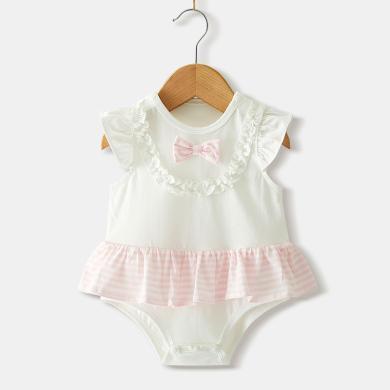 ocsco 夏季新款寶寶連體哈衣可愛公主無袖爬服嬰幼兒連身衣包屁衣女