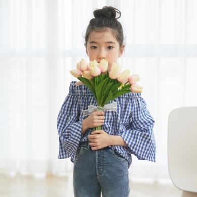 詩茵夏季款中大童格子一字肩喇叭袖女童上衣時尚休閑韓版T恤 80982