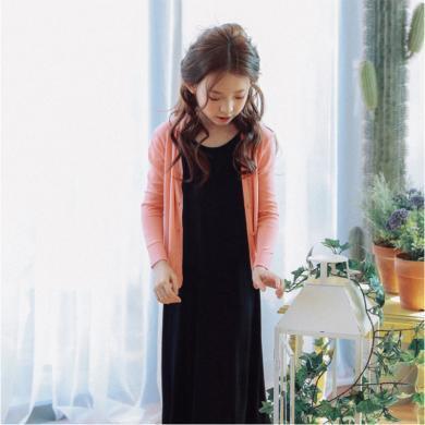 詩茵韓版童裝秋冬純色兒童手工針織開衫外套毛衣防曬防寒開衫 S1035