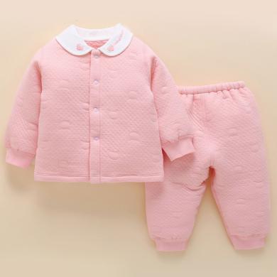 ocsco 春秋裝新款嬰兒套裝女新生兒寶寶長袖上衣+長褲女嬰兩件套
