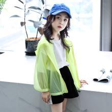 瀾囝囡 2019夏季新款女童純色輕薄皮膚衣女孩連帽外套  STOK防曬衣
