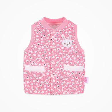 丑丑嬰幼 女寶寶夾絲棉背心春秋新款女童前開保暖馬甲1-4歲  CNE452X