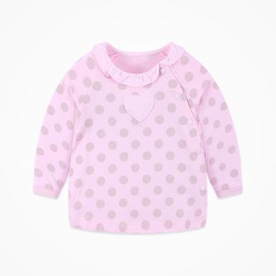 丑丑嬰幼 女寶寶可愛花邊波點上衣春秋新款女童長袖卡通T恤1-3歲 CNE258X