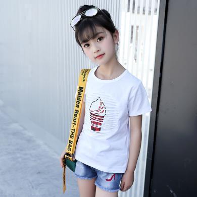 美純衣天使19夏季新款女童中大童韓版時尚繡花亮片鏤空純色女童棉質短袖T恤MC甜筒t