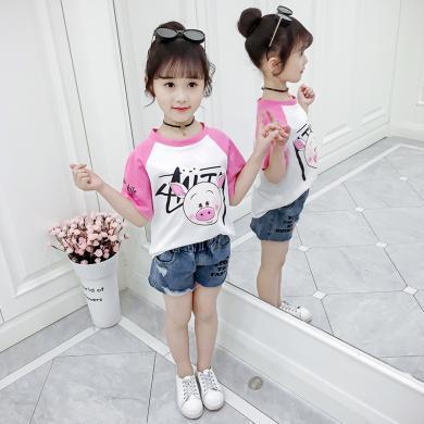 美純衣天使女童短袖T恤夏裝寬松圓領上衣女孩卡通撞色體恤衫兒童洋氣落肩袖MC可愛小豬t