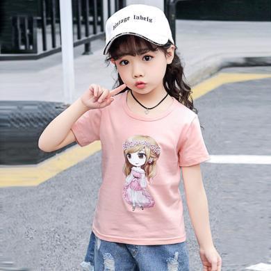 ocsco 童裝T恤夏季新款可愛印花休閑女童體恤衫時尚百搭女孩短袖上衣