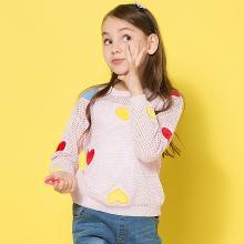 ocsco 春秋季新款时尚镂空桃心刺绣圆领女童针织衫中小儿童长袖上衣女