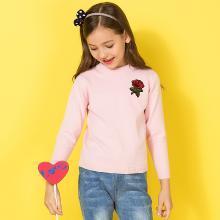 ocsco 女童针织衫春秋季新款玫瑰刺绣圆领中小儿童套头长袖毛线衣女