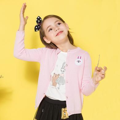 ocsco 女童針織衫春秋季新款可愛兔子刺繡中小童長袖開衫外套女