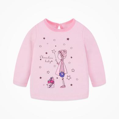 丑丑嬰幼 女童長袖圓領加絨保暖T恤春秋款女寶寶時尚甜美T恤1-4歲 CIE254T
