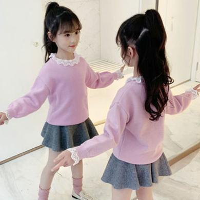 銘佳童話2019新款女童春秋款上衣兒童洋氣秋裝針織衫長袖小孩女大童潮毛衣W9328MY119