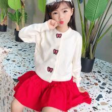 謎子 童裝針織衫秋冬裝新款女童毛衣中小童針織開衫可愛刺繡兒童外套