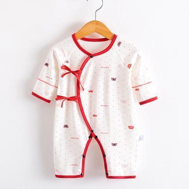 嬰兒衣服新生兒連體衣寶寶蝴蝶哈衣0-3個月爬爬服純棉春秋裝