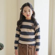 谜子 童装针织衫秋冬装新款女童毛衣套头打底衫长袖针织衫时尚条纹拼接