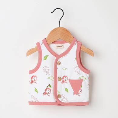 1~3歲兒童馬甲 秋季可愛小猴子印花開衫運動棉質馬甲外套