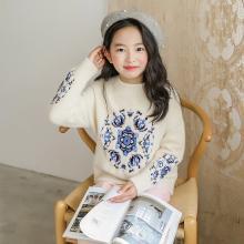 謎子 童裝針織衫秋冬裝新款女童毛衣套頭打底衫精美刺繡長袖毛衫
