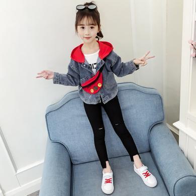 美純衣天使2019新款時髦女童夾克秋季外套中大童背包連帽牛仔衣PWY-JS背包牛仔衣