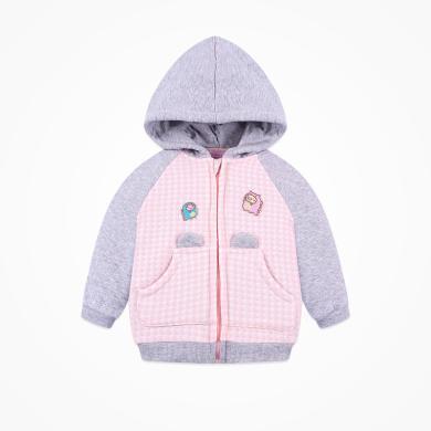丑丑婴幼 新款女童可爱保暖外套秋季女宝宝卡通连帽时尚外套  COE668X