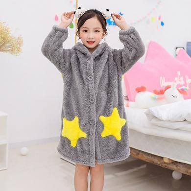謎子 童裝睡袍冬季新款雙面毛絨兒童睡衣星星口袋中大童加厚浴袍家居服