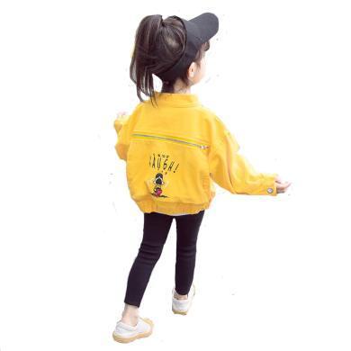 美純衣天使女童2019新款韓版女童外套秋款中小童卡通人口袋牛仔衣PWY-MD小人口袋外套