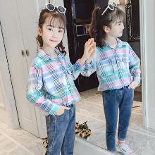 銘佳童話2019新款秋季女童裝兒童女孩長袖上衣女大童洋氣中大童格子潮襯衫W9345CS121