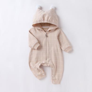 嬰兒連體大屁屁衣春秋棉質保暖連帽拉鏈衫寶寶閉襠哈衣爬服