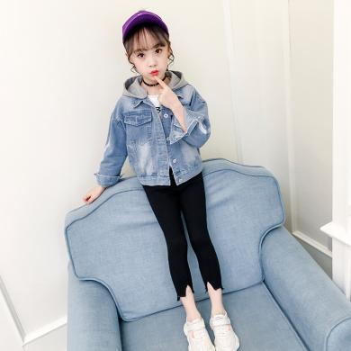 寧可緣2019新款女童秋裝外套韓版童裝中大童超洋氣牛仔夾克時髦兒童上衣19072605
