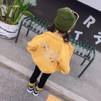 美純衣天使女童2019新款韓版女童上衣秋裝中小童仙鶴繡花外套PWY-YGD仙鶴外套