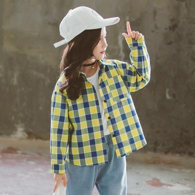 谜子 童装?#32435;来?#31179;装新款女童格子衬衣中大儿童长袖上?#29575;?#23578;百搭