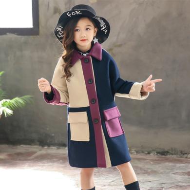 謎子 童裝大衣冬季新款中長款女童毛呢外套中大童韓版呢子大衣女