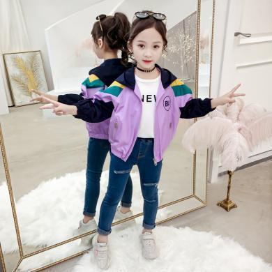 寧可緣2019新款女童秋裝外套韓版童裝中大童洋氣小女孩連帽拉鏈字母夾克19072608
