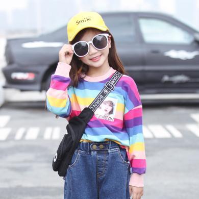 謎子 女童T恤春秋裝新款時尚彩虹條紋童裝長袖上衣中大童圓領體恤衫