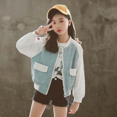 謎子 童裝外套春秋裝新款時尚女童夾克上衣休閑短款中大童外套女