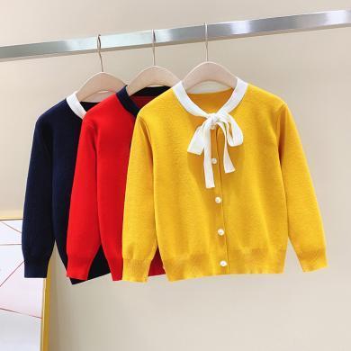 謎子 中大女童外套春秋季新款韓版開衫兒童短款蝴蝶結領帶針織衫外穿