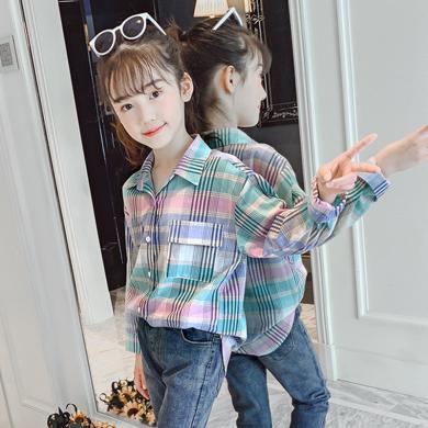 謎子 女童襯衫春秋裝新款童裝長袖襯衣休閑百搭中大童格子上衣女