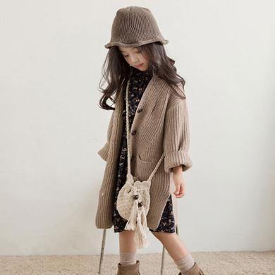 ocsco 童裝針織衫秋冬裝新款女童毛衣中長款開衫中大童單排扣外套