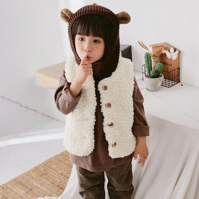 ocsco 童裝馬甲冬季新款女童坎肩嬰幼兒無袖背心男童羊羔絨棉衣潮