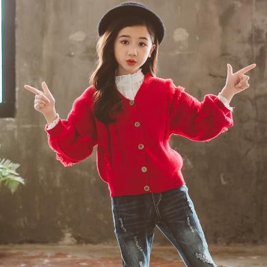 美純衣天使女童2019新款韓版兒童針織衫女童秋裝開衫中大童流蘇毛衣PWY-DN流蘇毛衣開衫
