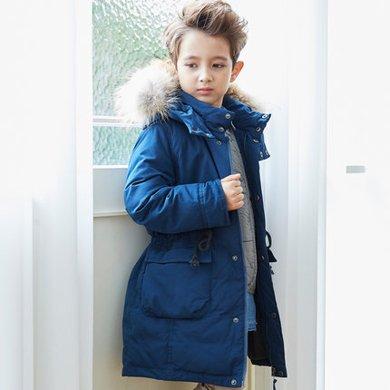 康衣兒男童羽絨服中長款收腰中大童裝反季兒童羽絨服白鴨絨冬裝