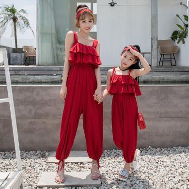 ocsco 母女裝夏季新款性感吊帶氣質荷葉邊度假海邊沙灘連體褲親子裝