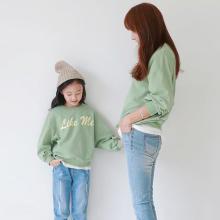 ocsco 时髦牛油果绿卫衣春秋季新款亲子装卫衣母女装韩版童装ins潮