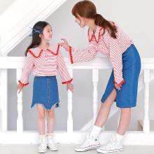 ocsco 可爱娃娃方领针织衫春秋季新款母女装花边女童装时髦喇叭袖条纹亲子装