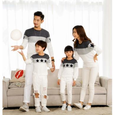 謎子 親子裝春秋季新款時尚拼接情侶衛衣一家三口家庭裝百搭長袖T恤