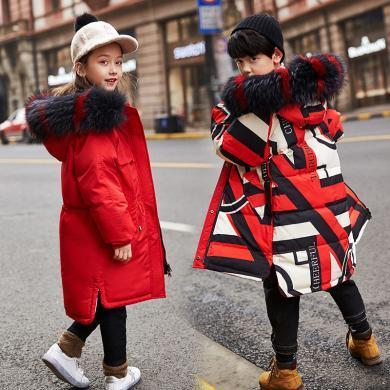謎子 親子裝冬季新款女童棉服男童棉衣中大童加厚棉襖中長款大毛領外套
