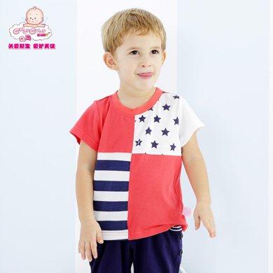 丑丑嬰幼 男寶寶時尚拼條T恤 夏季男童純棉休閑短袖上衣、T恤 1-4歲