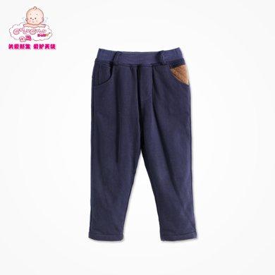丑丑婴幼男童秋装新款加绒长裤时?#34892;?#38386;保暖裤宝宝裤子