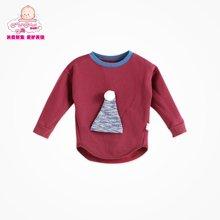 丑丑婴幼1-5岁男童春装加绒T恤 可爱宝宝长袖圆领春款上衣