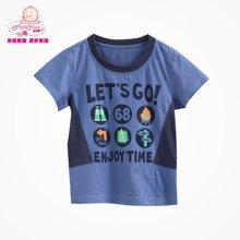 丑丑婴幼 夏季新款男宝宝休闲圆领T恤 1岁半-5岁